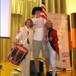 American Revolution Donna and Joy at Paxton with tall Henry